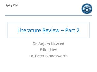 Literature Review – Part 2