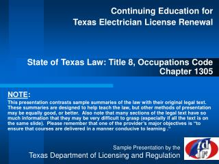 Continuing Education for  Texas Electrician License Renewal