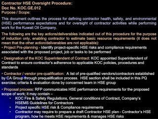 Contractor HSE Oversight Procedure:  Doc No. KOC.GE.012