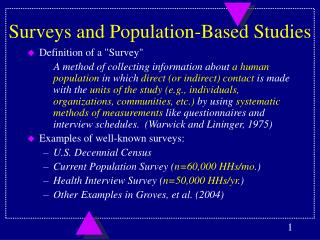 Surveys and Population-Based Studies