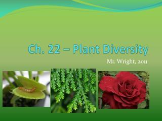 Ch. 22 – Plant Diversity