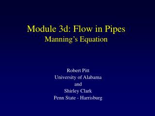 Module 3d: Flow in Pipes Manning�s Equation