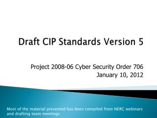 Draft CIP Standards Version 5