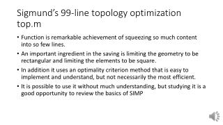 Sigmund's 99-line topology optimization  top.m