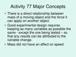 Activity 77 Major Concepts