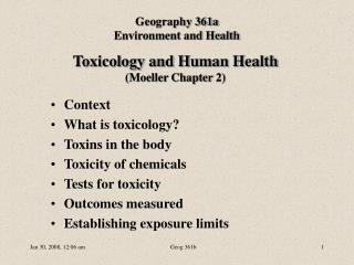 Toxicology and Human Health (Moeller Chapter 2)