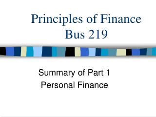 Principles of Finance Bus 219
