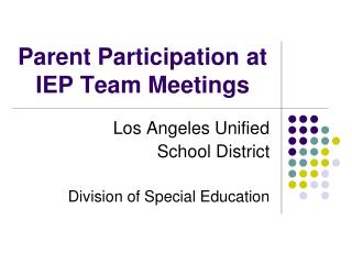 Parent Participation at IEP Team Meetings