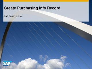 Create Purchasing Info Record