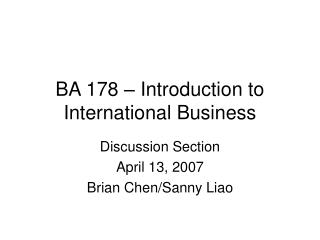 BA 178 � Introduction to International Business
