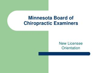 Minnesota Board of  Chiropractic Examiners