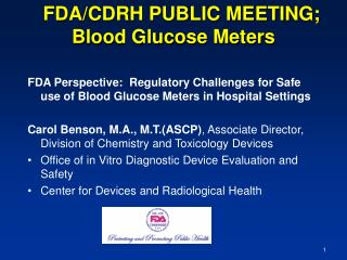 FDA/CDRH PUBLIC MEETING; Blood Glucose Meters