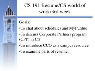 CS 191 Resume/CS world of work/3rd week