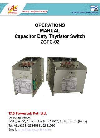 OPERATIONS  MANUAL  Capacitor Duty Thyristor Switch ZCTC-02