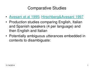 Comparative Studies