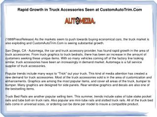 Rapid Growth in Truck Accessories Seen at CustomAutoTrim.Com
