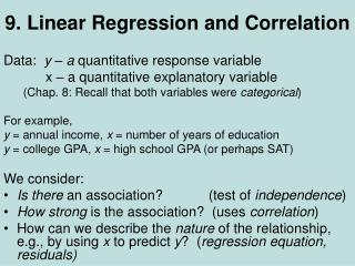 9. Linear Regression and Correlation
