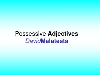 Possessive  Adjectives David Malatesta