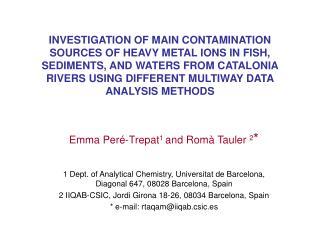 Emma Peré-Trepat 1  and Romà Tauler  2 *