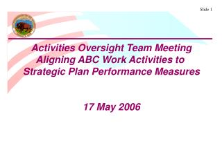 Activities Oversight Team Meeting Aligning ABC Work Activities to