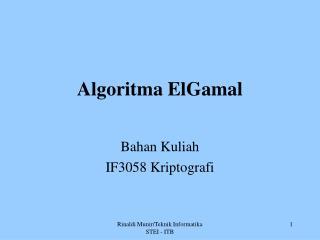 Algoritma ElGamal