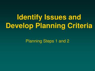 Identify Issues and Develop Planning Criteria