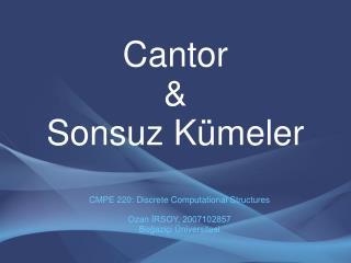 Cantor  &  Sonsuz K�meler