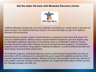 Get the sober life back with Muskoka Recovery Centre