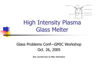 High Intensity Plasma  Glass Melter