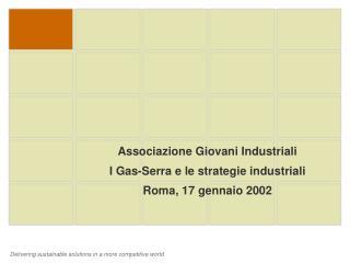 Associazione Giovani Industriali I Gas-Serra e le strategie industriali Roma, 17 gennaio 2002
