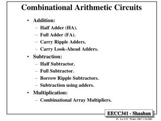 Combinational Arithmetic Circuits