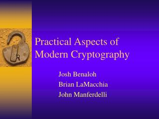 Practical Aspects of Modern Cryptography