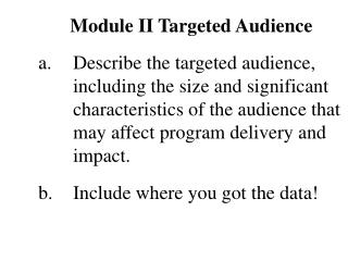 Module II Targeted Audience