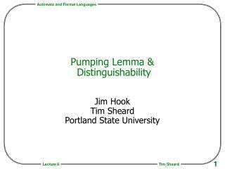 Pumping Lemma &  Distinguishability