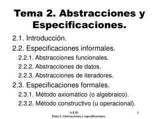 Tema 2. Abstracciones y Especificaciones.