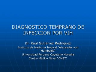 DIAGNOSTICO TEMPRANO DE INFECCION POR VIH