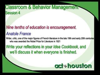 Classroom & Behavior Management Session 4