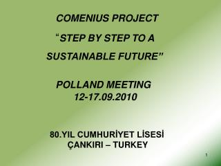 "COMENIUS PROJECT             "" STEP BY STEP TO A           SUSTAINABLE FUTURE"" POLLAND MEETING"