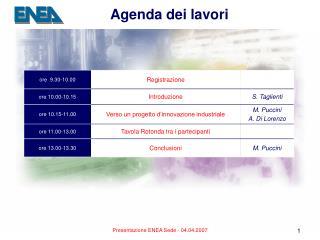 Agenda dei lavori