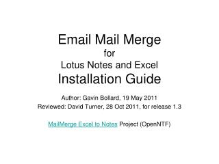 Email Mail Merge for Lotus Notes and Excel Installation Guide
