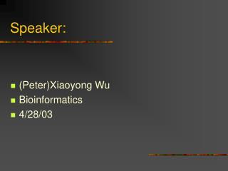 Speaker: