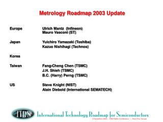 Metrology Roadmap 2003 Update
