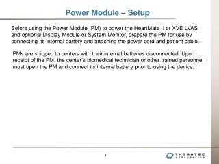 Power Module – Setup