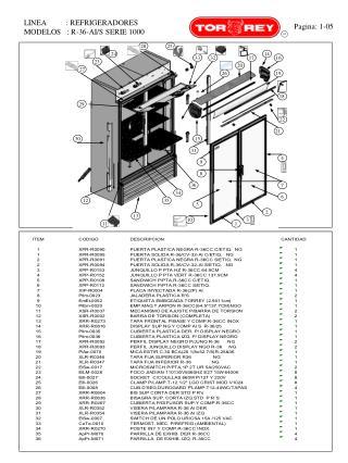 LINEA          : REFRIGERADORES  MODELOS   : R-36-AI/S SERIE 1000