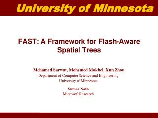 FAST: A Framework for Flash-Aware Spatial Trees