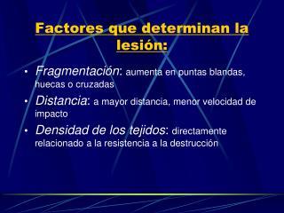 Factores que determinan la lesi�n: