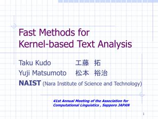Fast Methods for  Kernel-based Text Analysis