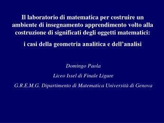 Domingo Paola Liceo Issel di Finale Ligure