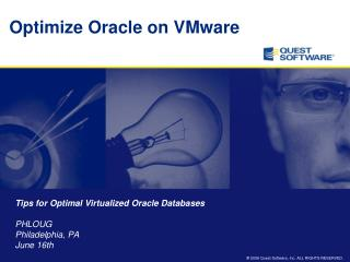 Optimize Oracle on VMware