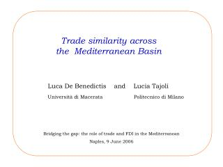 Trade similarity across  the  Mediterranean Basin